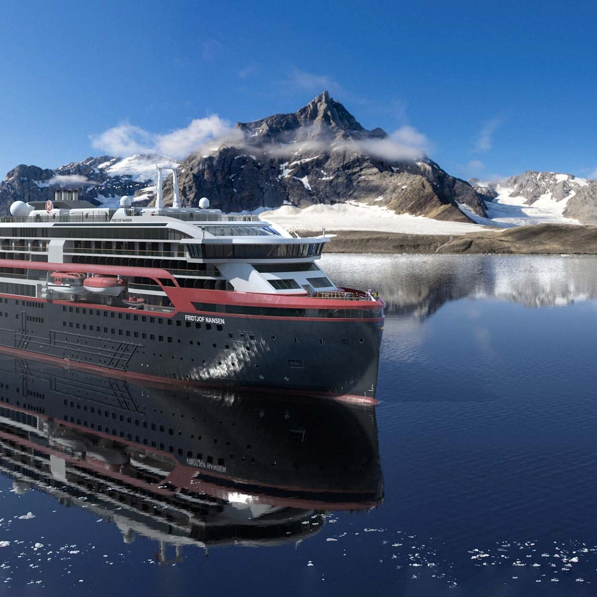 You are currently viewing 125 Jahre Entdeckungsreisen: Hurtigruten Expeditions tauft Hybridschiff MS Fridtjof Nansen in der Arktis